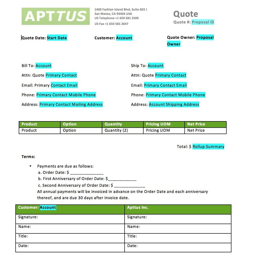 The Next Screenshot Shows The Window With Apttus Fields Available To Be  Inserted Into The Quote Template. While The Task To Insert Single Fields Is  Quite ...  Customer Quote Template